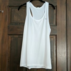 White Under Armour loose tank heat gear